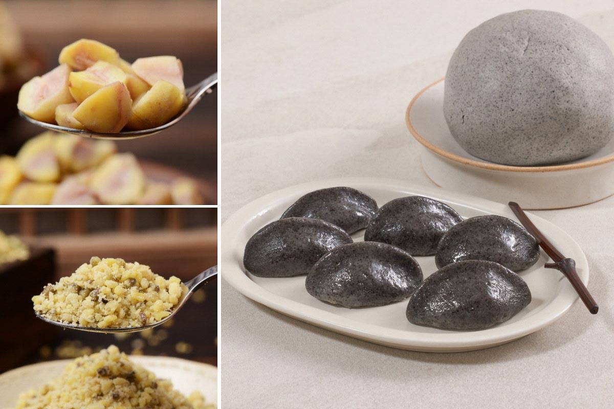 알밤소와 녹두고물, 흑임자반죽과 만든 흑임자 송편