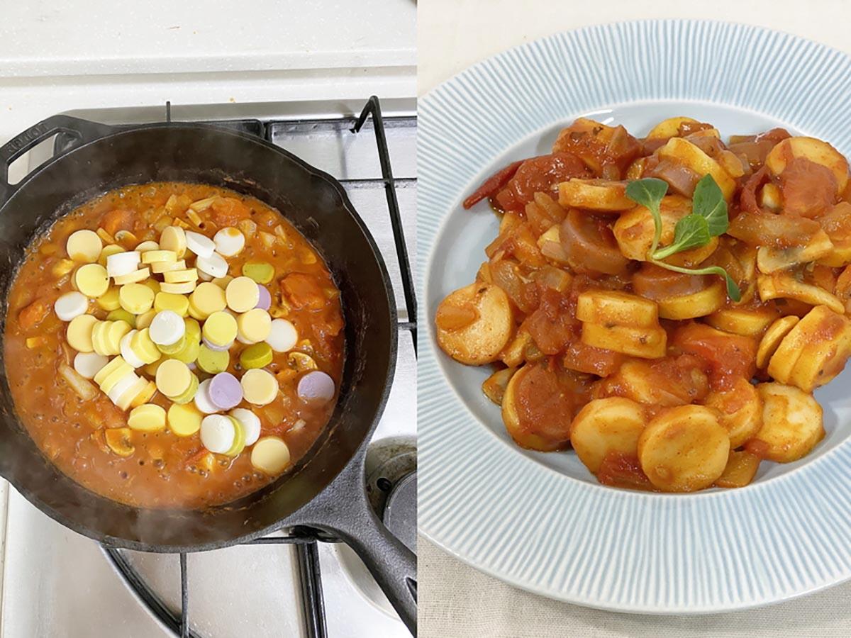 오색떡국떡으로 만든 떡볶이 사진